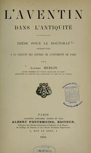 Cover of: L'Aventin dans l'antiquité by Alfred Merlin