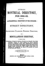 Cover of: Lovell's Montreal directory for 1892-93 by