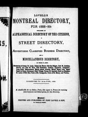 Cover of: Lovell's Montreal directory for 1888-89 |