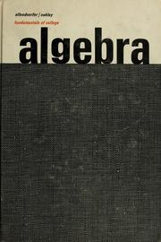 Cover of: Fundamentals of college algebra | Carl B. Allendoerfer