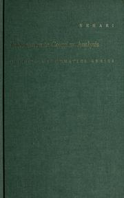 Cover of: Introduction to complex analysis by Zeev Nehari