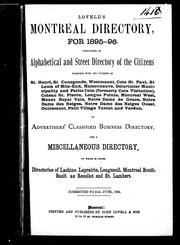Cover of: Lovell's Montreal directory for 1895-96 by