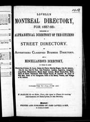 Cover of: Lovell's Montreal directory for 1887-88 |