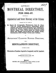 Cover of: Lovell's Montreal directory for 1896-97 |