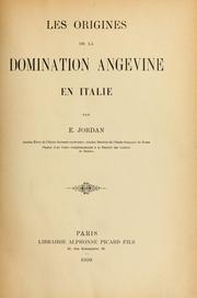 Cover of: Les origines de la domination angevine en Italie by Edouard Jordan