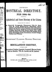 Cover of: Lovell's Montreal directory for 1898-99 |