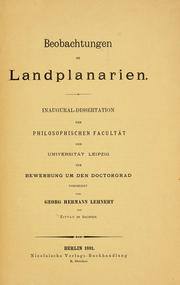 Cover of: Beobachtungen an Landplanarien | Georg Hermann Lehnert