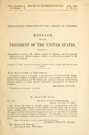 Cover of: Publications presented to the Library of Congress | United States. Embassy (Great Britain)