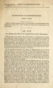 Cover of: In the House of Representatives, March 3, 1863 | U. S. Congress