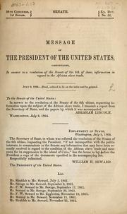 Cover of: Message of the President of the United States | Abraham Lincoln