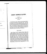 Cover of: Henry Kemble Oliver | Jesse H. Jones