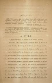 Cover of: A bill to be entitled An act in relation to the public printing by Confederate States of America. Congress. Senate