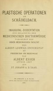 Cover of: Plastische Operationen am Schädeldach by Albert Esser
