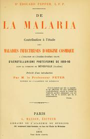 Cover of: De la malaria by Édouard Pepper