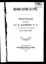 Cover of: Devoirs envers le pape by Joseph-Sabin Raymond
