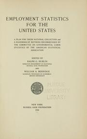 Cover of: Employment statistics for the United States | American Statistical Association. Committee on Governmental Labor Statistics
