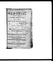 Cover of: A Memorial containing a summary view of facts, with their authorities by Jacob Nicolas Moreau