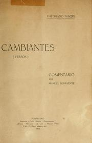 Cover of: Cambiantes, versos by Valeriano Magri