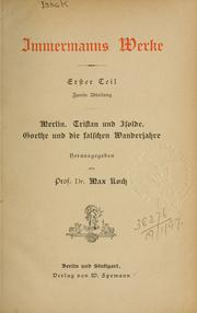 Cover of: Werke by Karl Leberecht Immermann