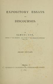 Cover of: Expository essays and discourses | Samuel Cox