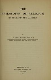 Cover of: The philosophy of religion in England and America by Alfred Caldecott