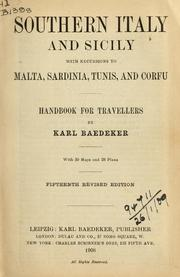 Cover of: Southern Italy and Sicily, with excursions to Malta, Sardinia, Tunis, and Corfu by Karl Baedeker (Firm)