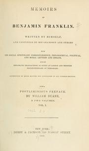 Cover of: Memoirs of Benjamin Franklin by Benjamin Franklin