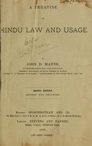 Cover of: A treatise on Hindu law and usage | John Dawson Mayne