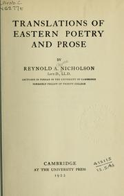 Cover of: Translations of Eastern poetry and prose by Reynold Alleyne Nicholson