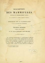 Cover of: Description des mammifères by Isidore Geoffroy Saint-Hilaire
