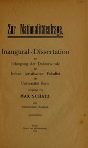 Cover of: Zur Nationalitatenfrage | Max Schatz