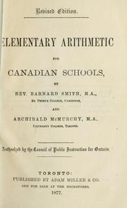 Cover of: Elementary arithmetic for Canadian schools by Barnard Smith