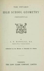 Cover of: The Ontario high school geometry by A. H. McDougall