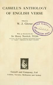 Cover of: Cassell's Anthology of English Verse | W.J Glover