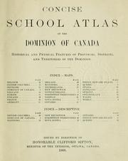 Cover of: Concise school atlas of the Dominion of Canada by Canada. Dept. of the Interior