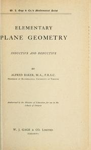Cover of: Elementary plane geometry by Baker, Alfred