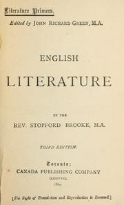 Cover of: English literature by Brooke, Stopford Augustus