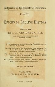 Cover of: Epochs of English history by M. Creighton