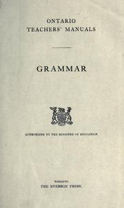 Cover of: Grammar / authorized by the Minister of Education by