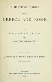 Cover of: High School History of Greece and Rome | W. J. Robertson