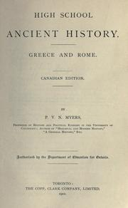 Cover of: High School Ancient History: Greece and Rome | P. V. N. Myers