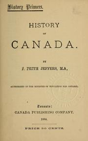 Cover of: History of Canada by J. Frith Jeffers