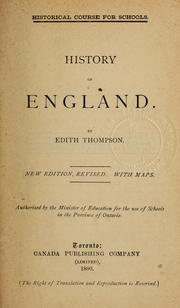 Cover of: History of England by Edith Thompson