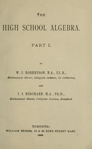 Cover of: The high school algebra by W. J. Robertson