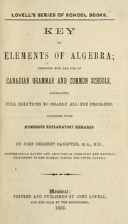 Cover of: Key to elements of algebra by John Herbert Sangster