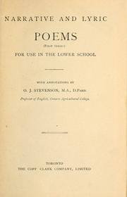Cover of: Narrative and lyric poems | O. J. Stevenson