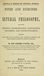 Cover of: Notes and exercises in natural philosophy | John Herbert Sangster