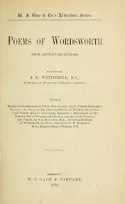 Cover of: Poems of Wordsworth | J. E. Wetherell