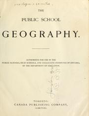 Cover of: The public school geography by Ontario. Dept. of Education
