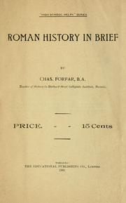 Cover of: Roman history in brief | Chas Forfar